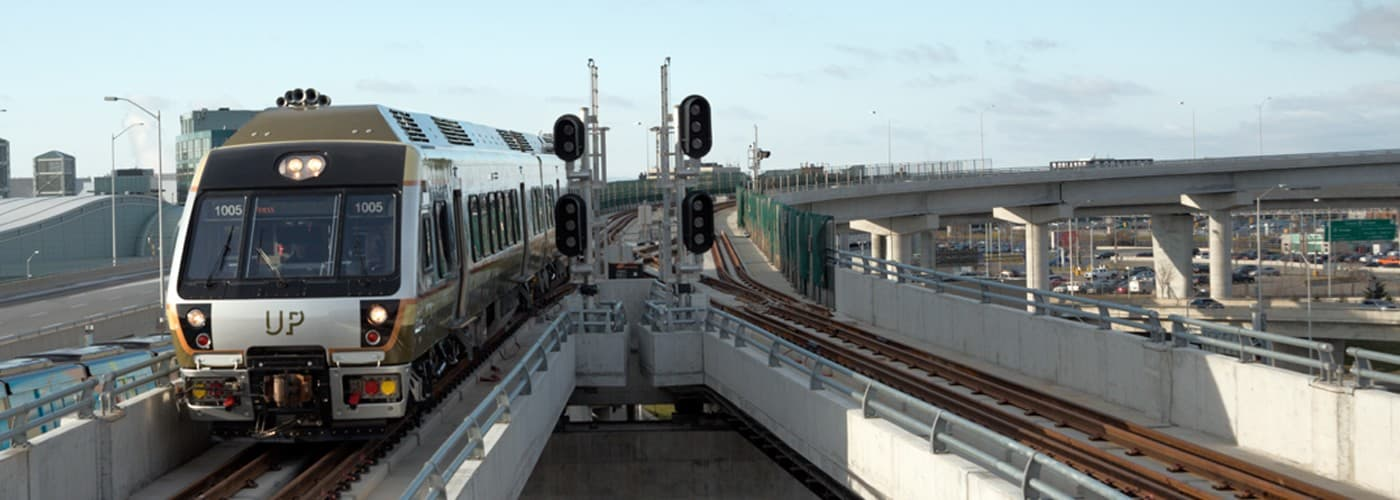 UP Express train pulling into Toronto Pearson International Airport