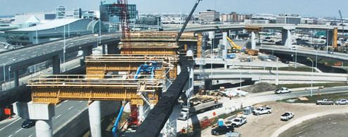 Construction of the spur rail track connecting downtown Torono and Pearson Airport