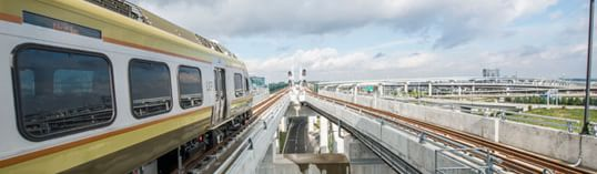 UP Express train departing Pearson Airport Toronto
