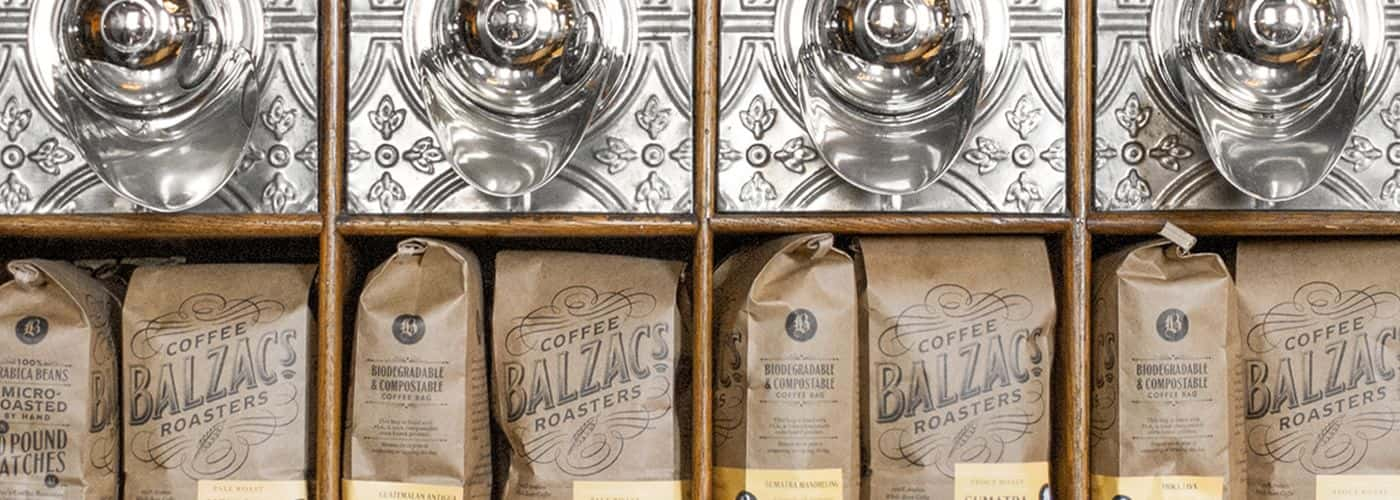 Bags of Balzacs Coffee beans