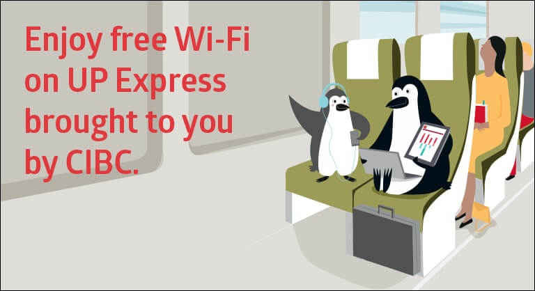 Advertisement for the free WiFi onboard UP Express courtesy of CIBC