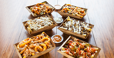 Six specialty poutines
