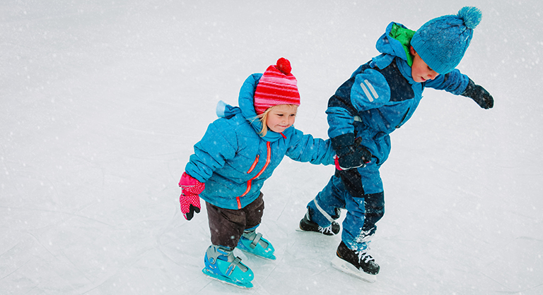 Children skating along the Barbara Ann Scott Skating Trail
