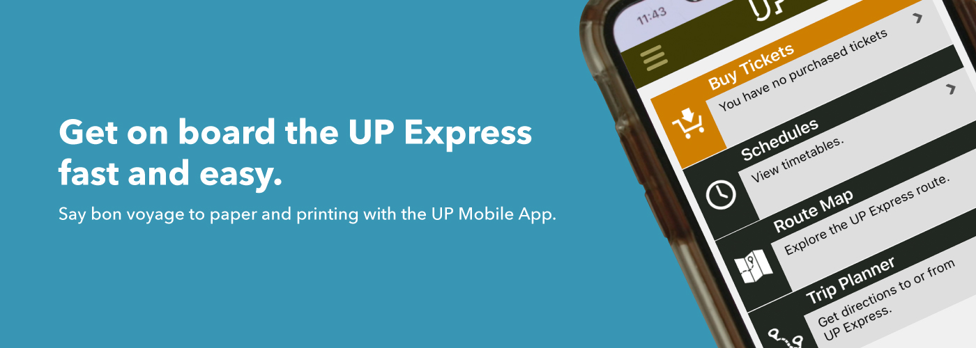 Illustration of a phone displaying the UP Express free Mobile App
