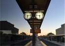 Union Pearson Express Bloor station at sunset