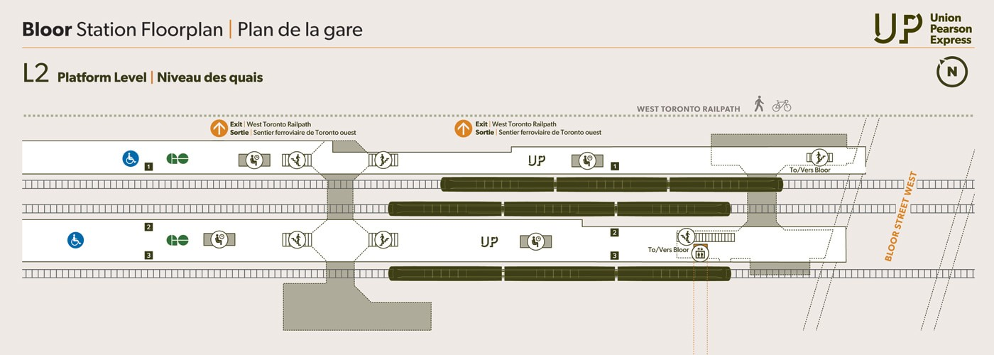 Map of UP Express Bloor Station in Toronto