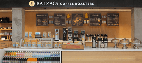 Image of the Balzac's Coffee Roasters café on the UP Express platform